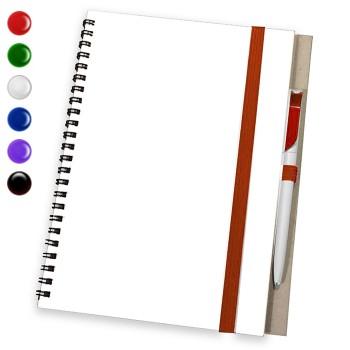 блокнот с ручкой А5 красный